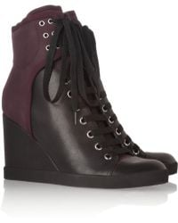 See By Chloé Two-Tone Leather Wedge Sneakers - Lyst
