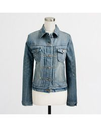 J.Crew Factory Denim Jacket in Sanded Blue Wash - Lyst