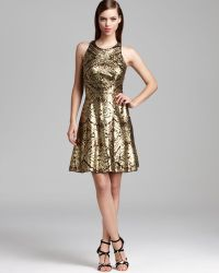 Adrianna Papell Metallic Sequin Dress Sleeveless Racerback - Lyst
