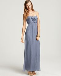 Amsale - Strapless Rosette Gown - Lyst