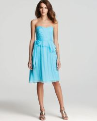 Amsale - Short Dress Strapless Peplum - Lyst