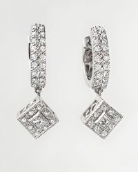 Charriol - Flamme Blanche Diamond Hoop Earrings in 18 Kt White Gold - Lyst