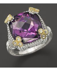 Judith Ripka Sterling Silver Small Monaco Ring with Purple Crystal - Lyst