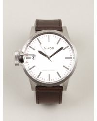 Nixon Brown Chronicle Leather Watch - Lyst