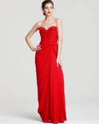 Badgley Mischka Strapless Gown - Sweetheart Ruffle - Lyst