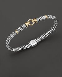 Lagos - 18k Green Gold And Sterling Silver Caviar And Diamonds Rope Bracelet, 6mm - Lyst