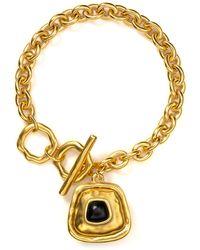 T Tahari - Hammered Gold Black Charm Toggle Bracelet - Lyst