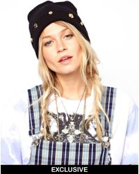 ASOS - Reclaimed Vintage Look Beanie with Gold Mixed Studs - Lyst