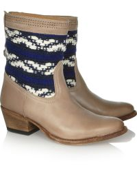 Cobra Society Otto Woven paneled Leather Boots gray - Lyst