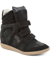 Isabel Marant Bekett Suede and Leather Wedge Trainers Black - Lyst