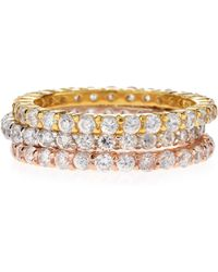 Belargo - Tricolor Stackable Cz Eternity Rings - Lyst