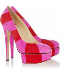 Charlotte Olympia Priscilla in Stripes Suede Platform Pumps - Lyst