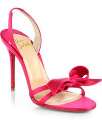 Christian Louboutin Grusanda Satin Bow Sandals - Lyst