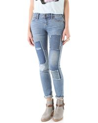 Free People Patched Skinny Jeans - Lyst