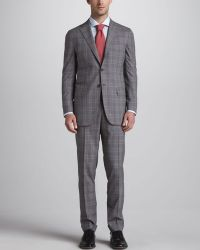 Kiton - Plaid Threebutton Suit Grayred - Lyst