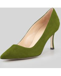 Manolo Blahnik Bb Suede 70mm Pump Green Made To Order - Lyst