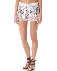 Miguelina - Eric Geometric Lace Shorts - White - Lyst