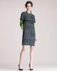 Proenza Schouler Tweed Raglan-sleeve Dress - Lyst