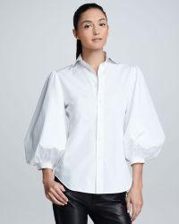 Ralph Lauren Black Label - Womens Aston Puffsleeve Cotton Poplin Blouse White - Lyst