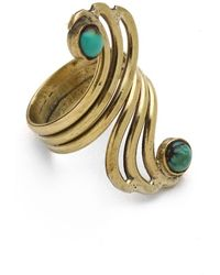 Sunahara Turquoise Double Mid Knuckle Ring - Metallic