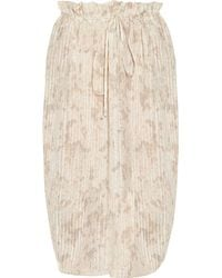 Suno Pleated Printed Silksateen Skirt - Lyst