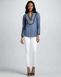 Tory Burch Skinny Ankle Jeans - Lyst