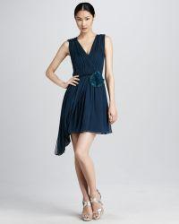Vera Wang Lavender Ruched Chiffon Cocktail Dress - Lyst