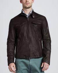 Brunello Cucinelli Leather Bomber Jacket Chocolate - Lyst