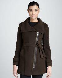 Cole Haan Asymmetric Belted Zip Coat - Lyst