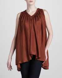 Donna Karan New York Draped Sleeveless Silk Tunic - Lyst