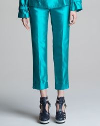Jean Paul Gaultier - Cropped Shantung Pants with Cuffs - Lyst