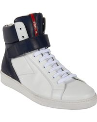 Prada High Top Velcro Strap Sneaker - Lyst