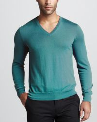 Ralph Lauren Black Label - Cashmere V-neck Sweater Clear Turquoise - Lyst