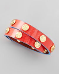 Tory Burch Logostudded Wrap Bracelet Redturquoise - Lyst