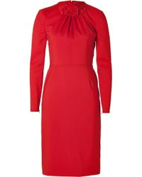 Valentino Virgin Wool Long Sleeve Sheath with Rose Embellishment red - Lyst