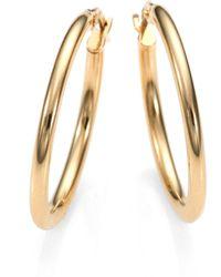 Roberto Coin 18K Yellow Gold Oval Hoop Earrings/1 - Lyst