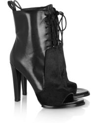 Alexander Wang Josephine Leather and Calf Hair Ankle Boots - Lyst