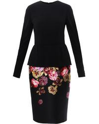 Giambattista Valli Pansy Print Peplum Dress - Lyst