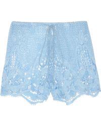 Miguelina - Jaya Crocheted Cotton lace Shorts - Lyst