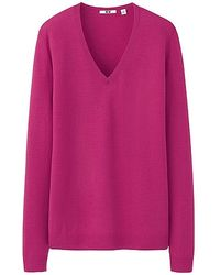 Uniqlo Extra Fine Merino V Neck Sweater - Lyst