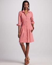 Eileen Fisher 3/4-Sleeve Linen-Blend Shirtdress - Lyst