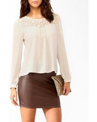 Forever 21 Lace Trimmed Blouse - Lyst