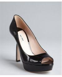 Miu Miu Black Patent Leather Peep Toe Platform Pumps - Lyst
