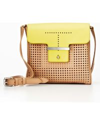 Ann Taylor - Colorblock Perforated Leather Mini Bag - Lyst