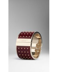 Burberry Stud Detail Leather Cuff - Lyst