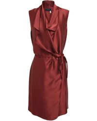 Lanvin Draped Satin Dress - Lyst