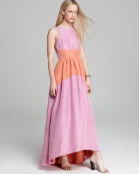 Tibi Long Dress Color Blocked Silk - Lyst