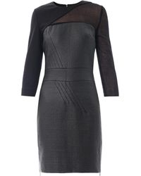 Antonio Berardi Sheer Sleeve Waxedtweed Fitted Dress - Lyst