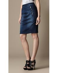 Burberry Zip Detail Denim Pencil Skirt - Lyst