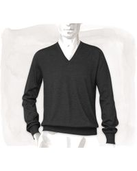 Hermes Cashmere and Silk Vneck Sweater - Lyst